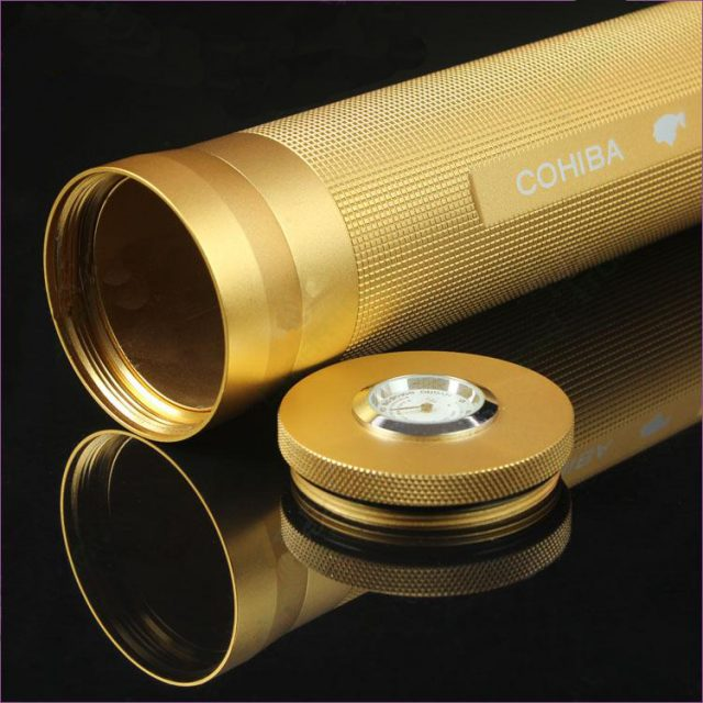 COHIBA Flashlight Design Cigar Humidor Cigar Tube Holder Equipped for Smoking with Humidity Table and Humidor