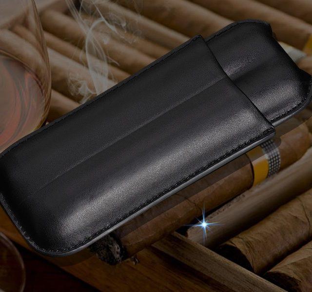 COHIBA Gadgets Brand High-end Portable Black  Leather Cigar Case Outdoor Travel Humidor