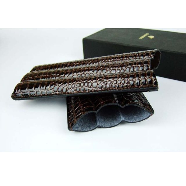 COSY MOMENT 3 Tube Cigar Case Portable Brown Crocodile Leather Cigar Case Outdoor Travel Gadgets Humidor YJ123