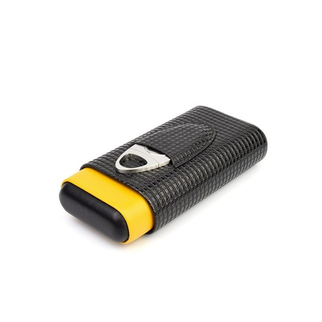 Black and Yellow Cigar Case Leather & Wooden Cigar Case Humidor with Stainless Steel Cigar Cutter /Sciccors