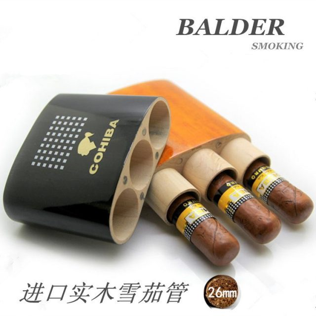 High quality COHIBA Spanish Cedar wooden piano paint humidors solid wood cigar 3 tube manufacturers