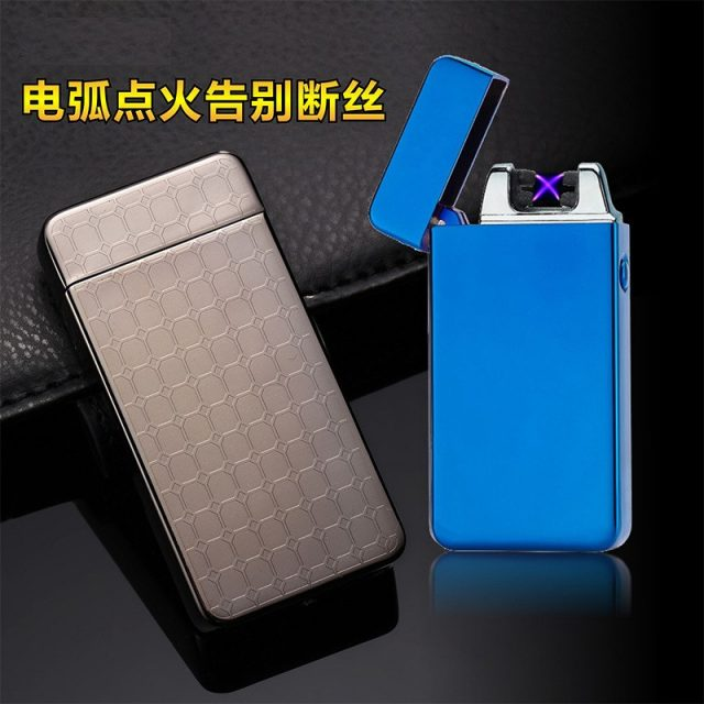 Double Pulse Arc Metal Ultra-Thin USB  plasma Lighter Charging Electronic Cigarette Lighters Gift Box