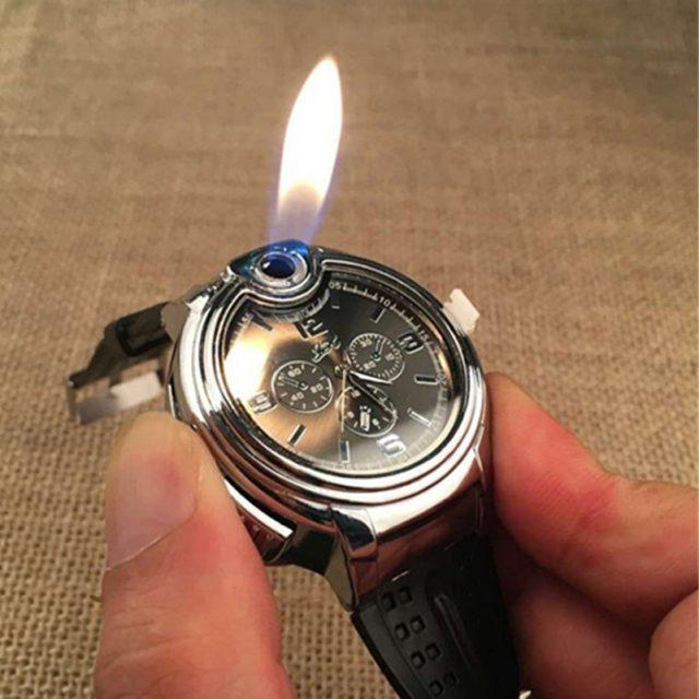 Oil Lighter Wrist Watch Fire Metal Mini Lighter Torch Cigarette Smoking Refillable Butane Gas Quartz Watch For Man