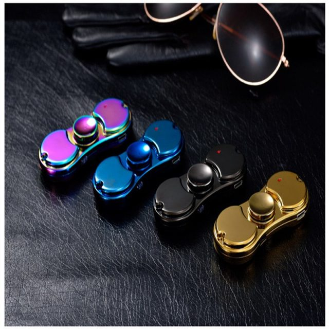 Spinner Lighter USB Lighters Electronic Windproof Flameless Rechargeable Black/Silver/Blue/Gold Lighter Cigar Lighters Smoking
