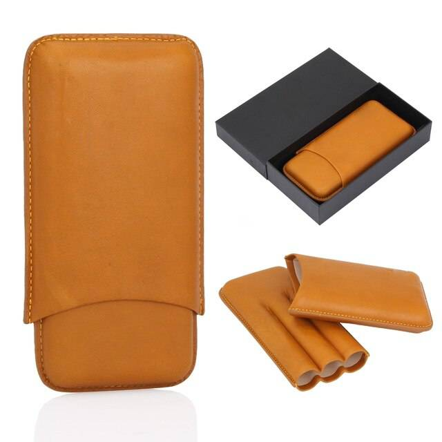 Portable Leather Cigar Case Humidor