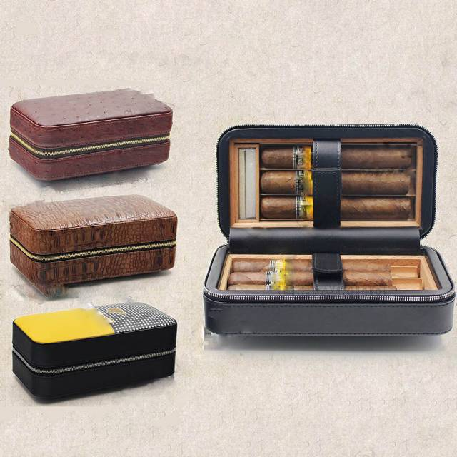 Leather Lined Cedar Wood Zipper Travel Cigar Case Holder 6 Tube Humidor