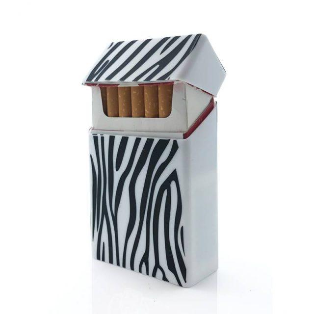 Holds 20 Cigarettes , Zebra Stripes Silicone Cigarette Case  Cover Elastic Rubber Portable Man/Women Cigarette Box Sleeve