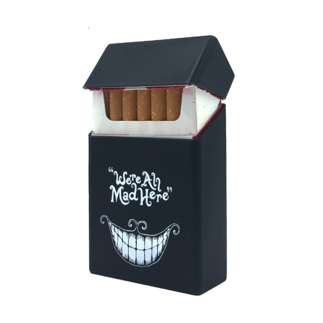 New We Are All Mad Here Hold 20 Silicone Cigarette Case  Cover Elastic Rubber Portable Man/Women Cigarette Box Sleeve