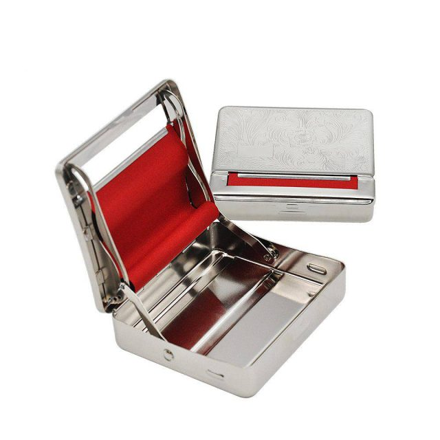 Silver Metal Rolling Machine Case Storage Case With Red Soft Fabric  For 70MM Rolling Paper Cigarette Roller Cigarette Maker